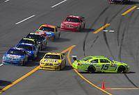 Apr 27, 2008; Talladega, AL, USA; NASCAR Sprint Cup Series driver Paul Menard (15) spins after contact with Juan Pablo Montoya (42) during the Aarons 499 at Talladega Superspeedway. Mandatory Credit: Mark J. Rebilas-