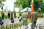 l-r  Lieutenant John Leahy, Sgt Padraig Costello and Sgt Charlotte Divane with back l-r  John Duggan, Martin Foley and James O'Kelly at the Royal Munster Fusiliers World War I remembrance monument Unveiling in Ballymullen on Saturday