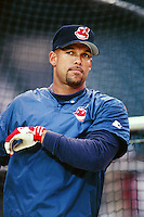 David Justice of the Cleveland Indians during a game against the Anaheim Angels at Angel Stadium circa 1999 in Anaheim, California. (Larry Goren/Four Seam Images)