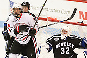 Billy Eiserman (Bentley - 19), Sam Kurker (NU - 10), Jayson Argue (Bentley - 32) - The visiting Bentley University Falcons defeated the Northeastern University Huskies 3-2 on Friday, October 16, 2015, at Matthews Arena in Boston, Massachusetts.