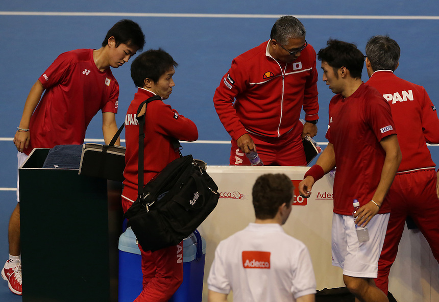 The Japanese team prepare to leave the court after defeat in the doubles rubber today - Andy Murray and Jamie Murray (GBR) def Yoshihito Nishioka and Yasutaka Uchiyama (JPN) 6-3 6-2 6-4<br /> <br /> Photographer Stephen White/CameraSport<br /> <br /> International Tennis - 2016 Davis Cup by BNP Paribas - World Group First Round - Great Britain v Japan - Day 2 - Saturday 5th March 2016 - Barclaycard Arena, Birmingham, Great Britain<br /> <br /> &copy; CameraSport - 43 Linden Ave. Countesthorpe. Leicester. England. LE8 5PG - Tel: +44 (0) 116 277 4147 - admin@camerasport.com - www.camerasport.com.