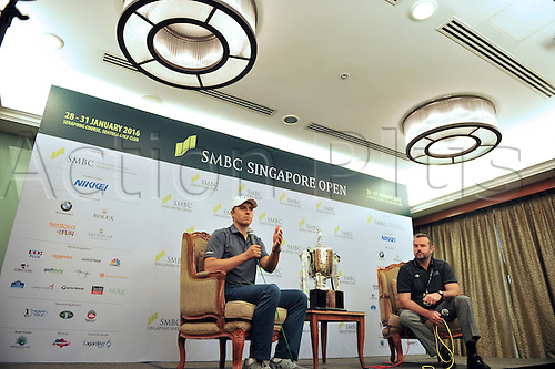 26.01.2016. Singpore.  Jordan Spieth of the United States attends the SMBC Singapore Open pre-match press conference PK Pressekonferenz at Singapores Sentosa Golf Club, Jan. 26, 2016. The SMBC Singapore Open will be held at Singapores Sentosa Golf Club from Jan. 28 to Jan. 31.