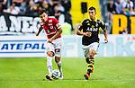 Solna 2014-07-12 Fotboll Allsvenskan AIK - Kalmar FF :  <br /> Kalmars Emin Nouri i kamp om bollen med AIK:s Nabil Bahoui  <br /> (Foto: Kenta J&ouml;nsson) Nyckelord:  AIK Gnaget Friends Arena Kalmar KFF