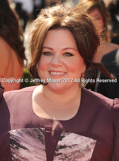 LOS ANGELES, CA - SEPTEMBER 15: Melissa McCarthy arrives at the 2012 Primetime Creative Arts Emmy Awards at Nokia Theatre L.A. Live on September 15, 2012 in Los Angeles, California.