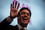 © Joel Goodman - 07973 332324 . 13/04/2015 . Manchester , UK . Labour Party leader ED MILIBAND launches the Labour Party manifesto ahead of the General Election , at a speech and Q&A at the Old Granada Studios in Manchester , UK . Photo credit : Joel Goodman