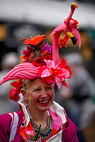 LOUISVILLE, KY - MAY 06: A woman wears a pink hat with a flamingo on it on Kentucky Derby Day at Churchill Downs on May 6, 2017 in Louisville, Kentucky. (Photo by Scott Serio/Eclipse Sportswire/Getty Images)