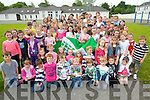 Pupils at Knockaderry National School celebrating the school's second green flag which they received for energy awareness.