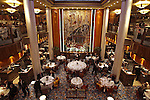 The main dinning room of the Queen Mary 2 cruising to San Francisco, California..