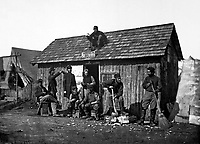 """Soldiers' Winter Quarters.  """"Pine Cottage.""""  Mathew Brady Collection. (Army)<br /> Exact Date Shot Unknown<br /> NARA FILE #:  111-BB-256<br /> WAR & CONFLICT BOOK #:  142"""