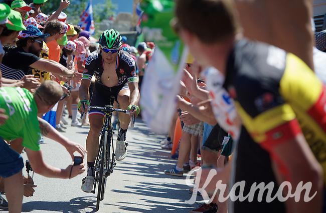 Pierrick Fédrigo (FRA/Bretagne-Séché Environnement) experiencing the craziness at the Dutch Corner (nr7) up Alpe d'Huez<br /> <br /> stage 20: Modane Valfréjus - Alpe d'Huez (111km)<br /> 2015 Tour de France