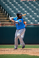 Akron RubberDucks Nellie Rodriguez (12) at bat during an Eastern League game against the Bowie Baysox on May 30, 2019 at Prince George's Stadium in Bowie, Maryland.  Akron defeated Bowie 9-5.  (Mike Janes/Four Seam Images)