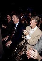 FILE -   Jean Charest, son epouse (G) et Lucienne Robillard (D) lorsque<br /> Les partisans du non tiennent un grand rassemblement a l'auditorium de Verdun le 24 octobre 1995<br /> <br /> PHOTO : Agence Quebec Presse