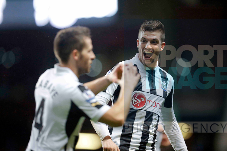 Yohan Cabaye celebrates scoring  the second goal of the game for Newcastle United with Davide Santon (right) - Football Football - Aston Villa vs Newcastle United  - Barclays Premiership - Villa Park  - Birmingham - Season 12/13 - 29/4/2013..Mandatory credit: Malcolm Couzens/Sportimage