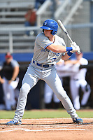 Scotty Bradley (39) of the Bluefield Blue Jays at bat during a game against the Danville Braves at American Legion Post 325 Field on July 28, 2019 in Danville, Virginia. The Blue Jays defeated the Braves 9-7. (Tracy Proffitt/Four Seam Images)