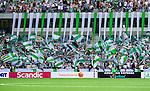 Stockholm 2014-05-24 Fotboll Superettan Hammarby IF - Varbergs BoIS FC  :  <br /> Hammarbys supportrar med flaggor<br /> (Foto: Kenta J&ouml;nsson) Nyckelord:  Superettan Tele2 Arena HIF Bajen Varberg BoIS supporter fans publik supporters
