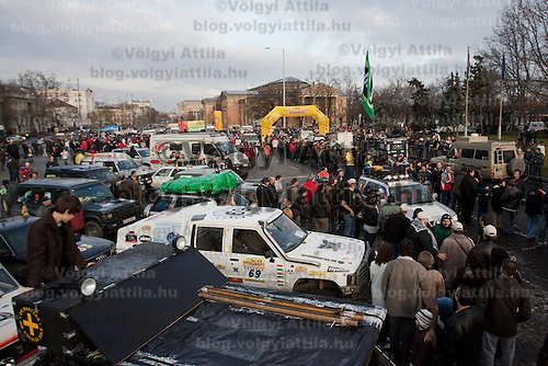 General view of preparations before the start of Budapest-Bamako Rally charity race also called as the Wacky Race to Africa that starts in Budapest, Hungary on January 15, 2011. ATTILA VOLGYI