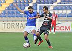2018-08-11 / voetbal / seizoen 2018 - 2019 / Crocky Cup / ASV Geel - Tilleur / een duel om de bal tussen Amar Merabai (l) (Geel) en Geatan Gerstmans (r) (Tilleur)