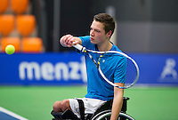 Rotterdam, Netherlands, December 19, 2015,  Topsport Centrum, Lotto NK Tennis, Wheelchair Junior championships, Ruben Spaargaren  (NED)<br /> Photo: Tennisimages/Henk Koster