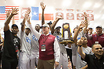 COLLEGE STATION, TX - MARCH 11: Texas A&M men's track and field team celebrate a National Championship during the Division I Men's and Women's Indoor Track & Field Championship held at the Gilliam Indoor Track Stadium on the Texas A&M University campus on March 11, 2017 in College Station, Texas. (Photo by Michael Starghill/NCAA Photos/NCAA Photos via Getty Images)