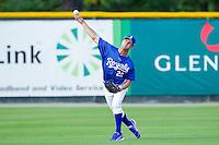 Burlington Royals center fielder Bubba Starling #23 makes a throw during practice at Burlington Athletic Park on June 15, 2012 in Burlington, North Carolina.  (Brian Westerholt/Four Seam Images)