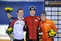 SPEED SKATING: CALGARY: Olympic Oval, 08-03-2015, ISU World Championships Allround, Final Podium Ladies, Heather Richardson (USA), Ida Njåtun (NOR), Ireen Wüst (NED), ©foto Martin de Jong