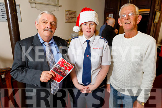 Sean Lyons (MC), Majella Forde and Cll Sam Locke attending the Tralee branch of the Red Cross Christmas Concert at St Johns in Ashe Street.