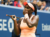 9th September 2017, FLushing Meadows, New York, USA;  Sloan Stephens (USA) looks up to her player box in shock after winning the US Open Women's Singles title  at the USTA Billie Jean King National Tennis Center in Flushing Meadow, NY.