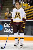 Brian Schack (University of Minnesota - Lino Lakes, MN) lines up. The University of Minnesota Golden Gophers defeated the Michigan State University Spartans 5-4 on Friday, November 24, 2006 at Mariucci Arena in Minneapolis, Minnesota, as part of the College Hockey Showcase.