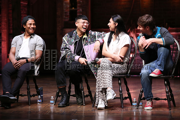 "Daniel Yearwood, Preston Mui, Lauren Boyd and Thayne Jasperson during the Q & A before The Rockefeller Foundation and The Gilder Lehrman Institute of American History sponsored High School student #eduHAM matinee performance of ""Hamilton"" at the Richard Rodgers Theatre on 3/12/2020 in New York City."