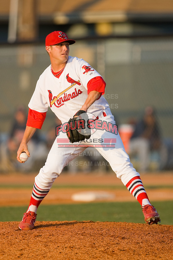 Relief pitcher Drew Benes #15 of the Johnson City Cardinals in action against the Elizabethton Twins at Howard Johnson Field July 3, 2010, in Johnson City, Tennessee.  Photo by Brian Westerholt / Four Seam Images