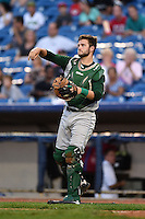 Fort Wayne TinCaps catcher Ryan Miller (20) during a game against the Lake County Captains on August 21, 2014 at Classic Park in Eastlake, Ohio.  Lake County defeated Fort Wayne 7-8.  (Mike Janes/Four Seam Images)