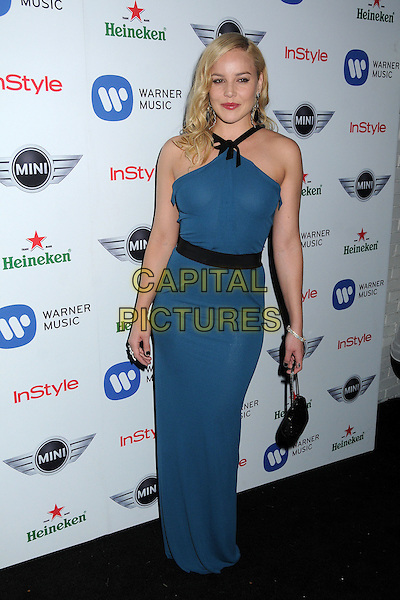 Abbie Cornish.Warner Music Group 2013 Grammy Celebration held at The Chateau Marmont, West Hollywood, California, USA..February 10th, 2013.full length blue dress sleeveless belt black teal bag purse .CAP/ADM/BP.©Byron Purvis/AdMedia/Capital Pictures.