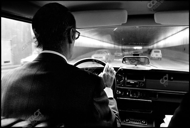Presidential candidate Valery Giscard d'Estaing in car, Paris, France, April 1974