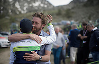 emotional reunion between DS Matt White & Johan Esteban Chaves (COL/Orica-GreenEDGE) after the race & after losing the Maglia Rosa on the last stage (that mattered)<br /> <br /> stage 20: Guillestre (FR) - Sant'Anna di Vinadio (IT) 134km<br /> 99th Giro d'Italia 2016