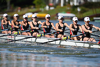 REDWOOD SHORES, CA - May 2, 2015: Stanford University Men's and Women's Rowing Teams compete against the University of California - Berkeley in the 82nd annual Big Row.  The races were held in the Belmont Channel and the Redwood Shores Lagoon on May 2, 2015.