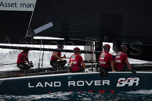 July 23rd 2017, Barcelona, Spain; Extreme Sailing Series, Act 4, Sunday Session; The skipper Rob Brunce (GBR) of TEAM Land Rover Bar Academy and his crew Chris Taylor, Oli Graber, Sam Batten, Adam Key
