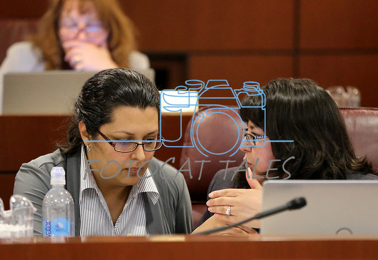 Nevada Assembly Democrats Olivia Diaz, left, and Irene Bustamante Adams work in committee at the Legislative Building in Carson City, Nev., on Saturday, May 30, 2015.  <br /> Photo by Cathleen Allison