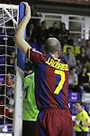 EL FC Barcelona Alusport es clasifica per la final de la Copa del Rei despres de guanyar el partit de tornada de la semifinal 6-1 contra el Azkar Lugo. A la foto Javi Rodriguez