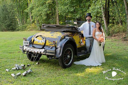Akron photography of yellow 1927 Dodge Roadster by Tallmadge photography by Tallmadge wedding photographer Mara Robinson Photography
