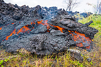 lava originating from Kilauea Volcano, and emanating from a fissure in Leilani Estates, near Pahoa, Puna, Big Island, Hawaii, USA, enters a property off of Pohoiki Rd as a thick flow of a'a lava