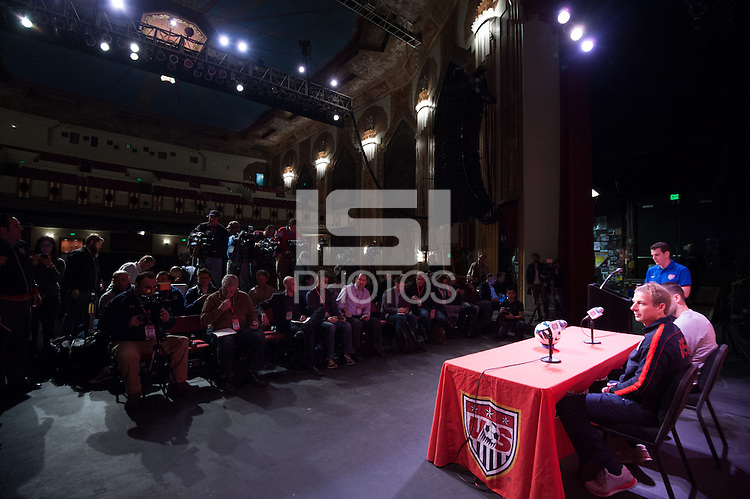 Denver, CO - Thursday, March 21, 2013: USA press conference at the Paramount Theatre.