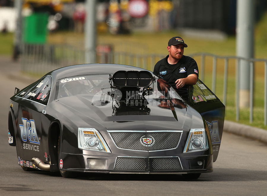 Jun 17, 2017; Bristol, TN, USA; NHRA pro mod driver Steven Whiteley during qualifying for the Thunder Valley Nationals at Bristol Dragway. Mandatory Credit: Mark J. Rebilas-USA TODAY Sports