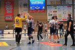 09.11.2019, Hansehalle Luebeck, GER,  2.Bundesliga Handball VfL Luebeck-Schwartau - TV Emsdetten<br /> <br /> im Bild / picture shows<br /> Schlussjubel, Torwart Dennis Klockmann VfL Luebeck-Schwartau und Jan Schult VfL Luebeck-Schwartau klatschen sich ab. Jubel beim VfL Luebeck-Schwartau nach dem 28:22 Sieg gegen (TV Emsdetten)<br /> <br /> Foto © nordphoto / Tauchnitz