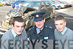 SHOCK TACTICS: Students Colm O'Shea and Alan McCormack from CBS The Green pictured with Sergeant Kieran O'Connell were shocked at the true life stories told at the Road Safety Seminar in the Brandon Hotel on Tuesday.    Copyright Kerry's Eye 2008