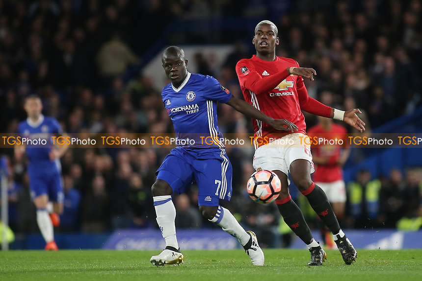 N'Golo Kante of Chelsea and Manchester United's Paul Pogba during Chelsea vs Manchester United, Emirates FA Cup Football at Stamford Bridge on 13th March 2017