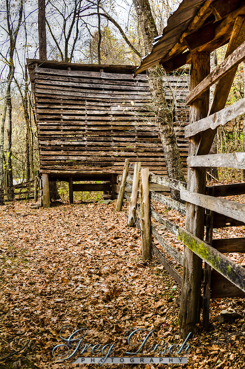 Beaver Jim Villines boyhood home.  Abraham Villines and his children were among the earliest pioneer families in the Buffalo River Valley. Abraham's grandson William built this log house in 1850 for his new bride, Rebecca. Four years later their son James was born here.<br /> James Villines was known as &quot;Beaver Jim&quot; for his renowned trapping ability.  In the mid-twentieth century, Villines family descendants used this house as a barn, with the chimney still attached.  Today, the notched and hand-hewn logs recall the pioneers who carved their home out of the buffalo River Wilderness.