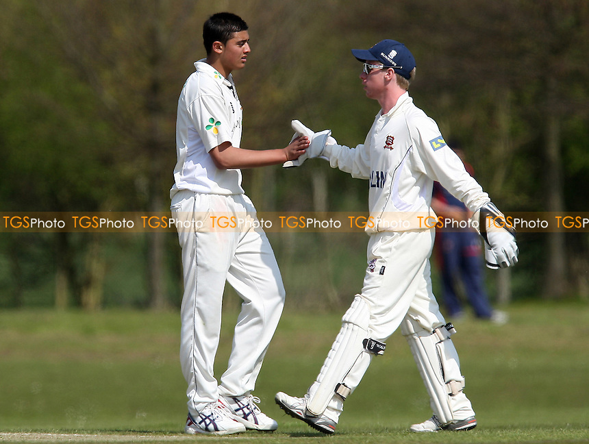 Basil Akram (L) celebrates wicket for Essex with Adam Wheater- Essex CCC 2nd XI vs Suffolk CCC - Cricket Friendly at Billericay Cricket Club - 18/04/10 - MANDATORY CREDIT: Gavin Ellis/TGSPHOTO - Self billing applies where appropriate - Tel: 0845 094 6026