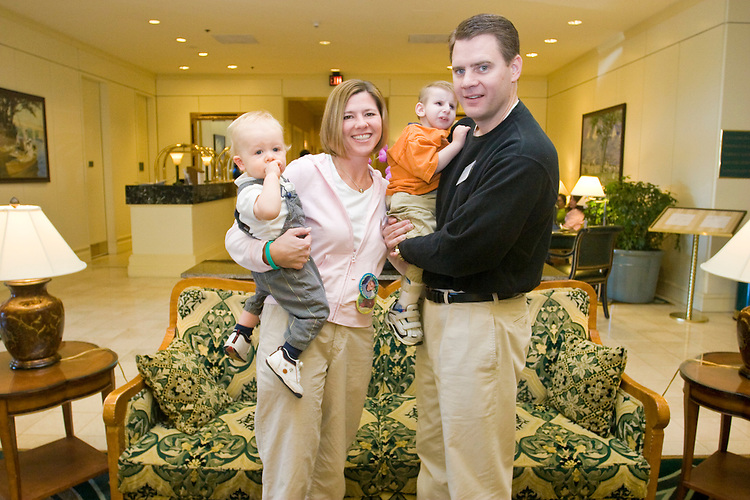 The Sullivan family at the Share and Care Network's annual retreat held at the Doubletree Guest Suites Hotel in Boston on May 20, 2006. <br /> <br /> The Share and Care Network was created in 1981 by Pat Cahill when her son Scott was diagnosed with Cockayne Syndrome.  A rare form of dwarfism, Cockayne Syndrome is a genetically determined condition whose symptoms include microcephaly, mental retardation, progressive blindness, progressive hearing loss, premature aging, and a shortened lifespan averaging 18 years.  Those afflicted have distinctive facial features, including sunken eyes, pinched faces, and protruding jaws as well as distinctive gregarious, affectionate personalities.<br /> <br /> Because of the rarity of the condition (1/1,000 live births) and its late onset (characteristics usually begin to appear only after one year), many families and physicians are often baffled by children whose health begins to deteriorate after normal development.  It was partly with this in mind that the Share and Care Network was formed, to promote awareness of this disease as well as to provide a support network for those families affected.  In 1998 it began organizing an annual retreat, which has grown from three families in its inaugural year to more than 30 today.  Although the retreat takes place in the United States, families from as far as Japan arrive for this one weekend out of the year to share information and to support one another.