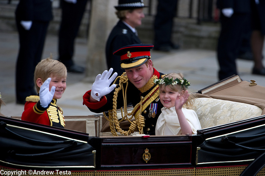 UK. London. 29th April 2011..Prince Harry leaves the ceremony..©Andrew Testa for the New York Times..
