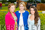 l-r Ciara Curtin, Killarney,Stacey O'Leary,Killarney and Christina Murhill, Killarney. looking glamorous for Ladies Day at the Killarney Races. on Thursday